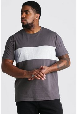 Big And Tall Colour Block T-Shirt, Slate