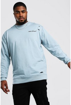 Blue Big And Tall MAN Official Distressed Sweater