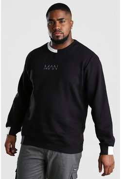Big And Tall MAN Dash Splice Hem Sweatshirt, Black