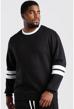 Black Big And Tall Colour Block Sweatshirt