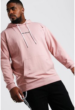 Big And Tall MAN Official Distressed Hoodie, Mauve