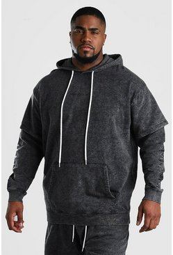 Big And Tall MAN Official Layered Hoodie, Charcoal