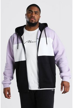 Big And Tall Zip Through Colour Block Hoodie, Orchid