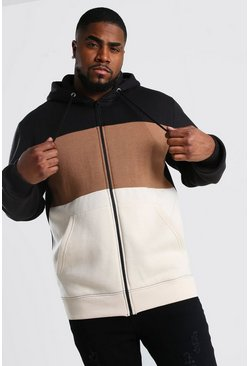 Big And Tall Zip Through Colour Block Hoodie, Black