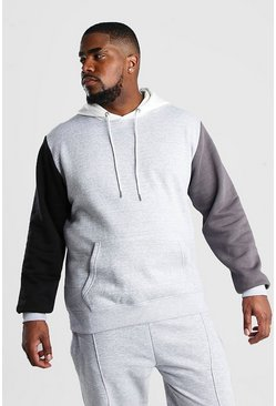 Big And Tall Colour Block Sleeve Hoodie, Grey marl