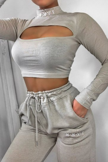 Light stone Her Cut Out Sweat And Jogger Set
