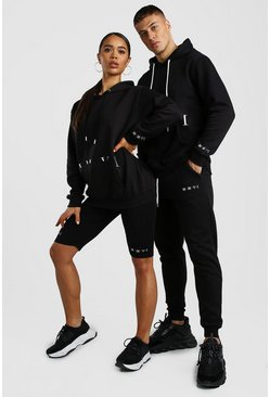 Black Her Hoody And Cycling Short Set