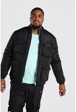 Big And Tall 4 Pocket Funnel Neck Jacket, Black