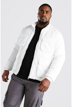 Big And Tall 4 Pocket Funnel Neck Jacket, White
