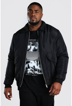 Chaqueta de entrenador con 2 bolsillos Big And Tall, Negro