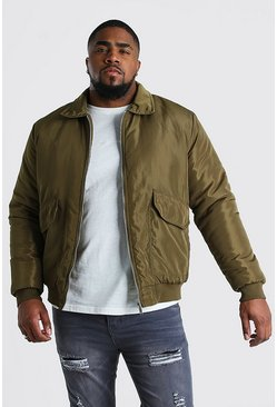 Chaqueta de entrenador con 2 bolsillos Big And Tall, Caqui