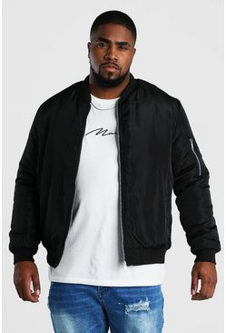 Big And Tall Padded Bomber With MA1 Sleeve, Black