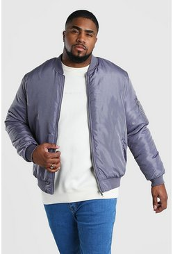 Big And Tall Padded MA1 Sleeve Bomber, Grey