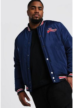 Big And Tall Padded Miami Bomber Jacket, Navy