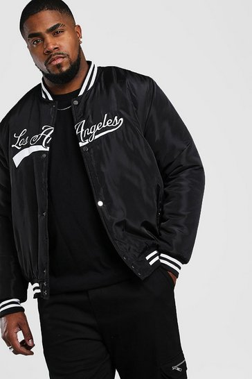 Black Big And Tall Padded Los Angeles Bomber Jacket