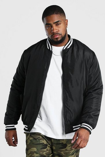 Black Big And Tall Contrast Rib Padded Bomber