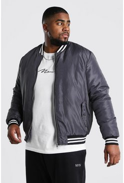 Big And Tall Contrast Rib Padded Bomber , Charcoal
