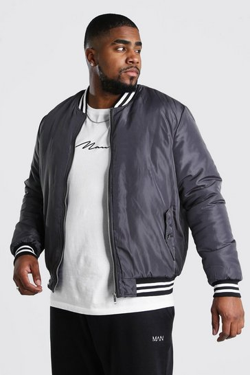 Charcoal Big And Tall Contrast Rib Padded Bomber