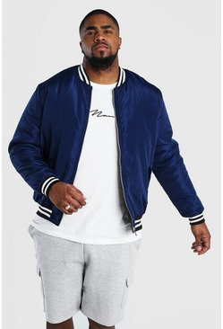 Big And Tall Contrast Rib Padded Bomber , Navy