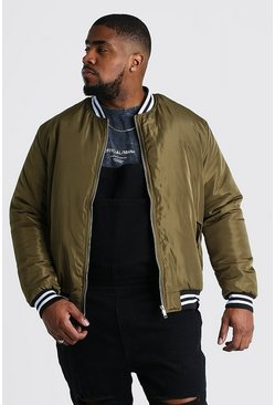 Big And Tall Contrast Rib Padded Bomber , Khaki