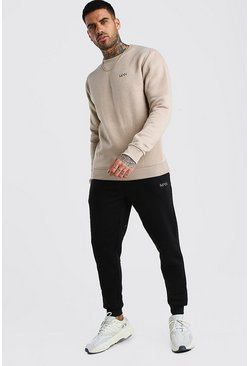Taupe Hi-Lo MAN Dash Skinny Fit Sweater Tracksuit