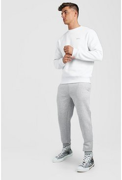White Hi-Lo MAN Dash Skinny Fit Sweater Tracksuit