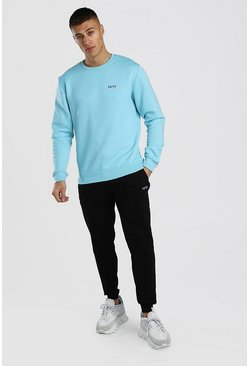 Light blue Contrast MAN Dash Sweater & Jogger Set