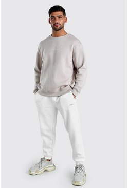 Stone Contrast MAN Signature Loose Sweater & Jogger Set.