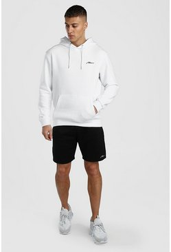 White Contrast MAN Signature Hoodie & Short Set