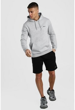 Grey marl Contrast MAN Signature Hoodie & Short Set