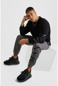Black Hi-Lo MAN Embroidered Loose Fit Sweater Tracksuit