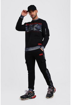 Black Official MAN Tape Sweater Camo Panel Tracksuit