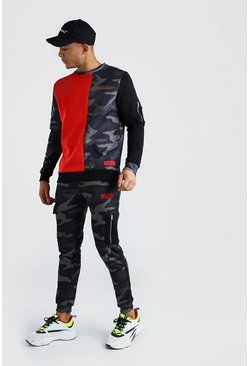 MAN Official Spliced Camo Cargo Sweater Tracksuit