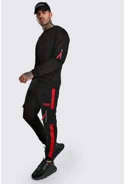 Black MAN Official Back Panel Utility Sweater Tracksuit