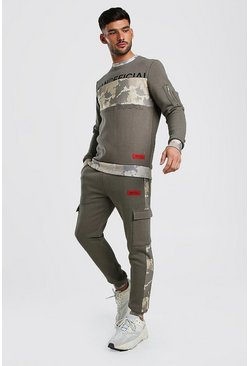 Khaki Colour Block Camo Utility Tracksuit With MAN Print