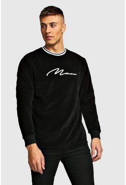 Mens Black MAN Signature Velour Sweater