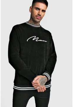 Mens Black MAN Signature Velour Sweatshirt With Sports Rib