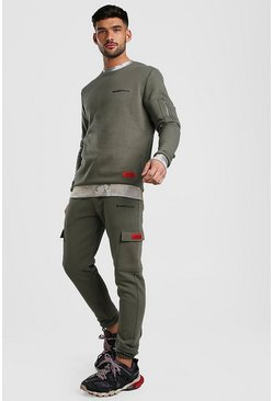 Khaki MAN Official Camo Detail Utility Sweater Tracksuit