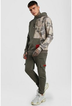 Khaki MAN Official Spliced Camo Cargo Hooded Tracksuit