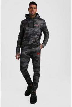 Dark grey Camo Utility Hooded Tracksuit With MAN Print