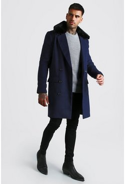 Double Breasted Faux Fur Overcoat, Navy