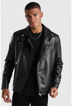 Leather Look Biker Jacket, Black