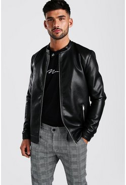 Leather Look Central Zip Biker, Black