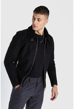 Black Faux Suede Borg Collar Harrington