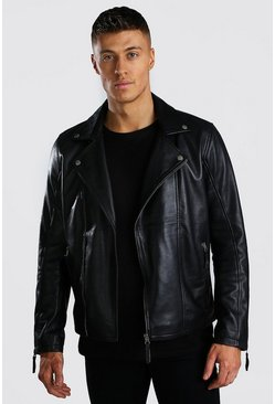 Real Leather Biker Jacket, Black