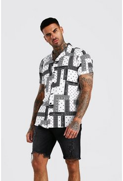 White Short Sleeve Revere Collar Bandana Print Shirt