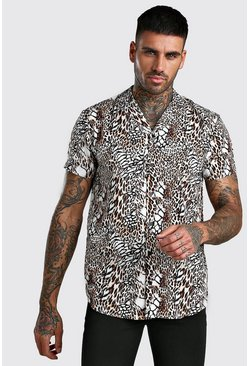 Multi Short Sleeve Revere Collar Animal Print Shirt
