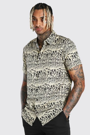 Stone Short Sleeve Animal Print Shirt