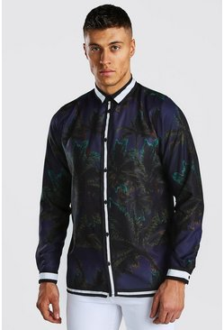 Navy Long Sleeve Border Print Palm Shirt