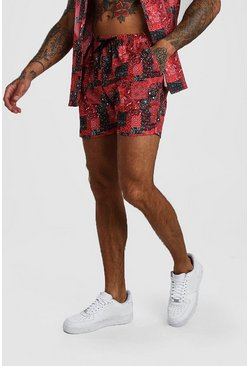 Red Bandana Print Shorts